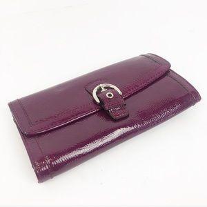 COACH patent Leather Plum Purple Fold Large Wallet